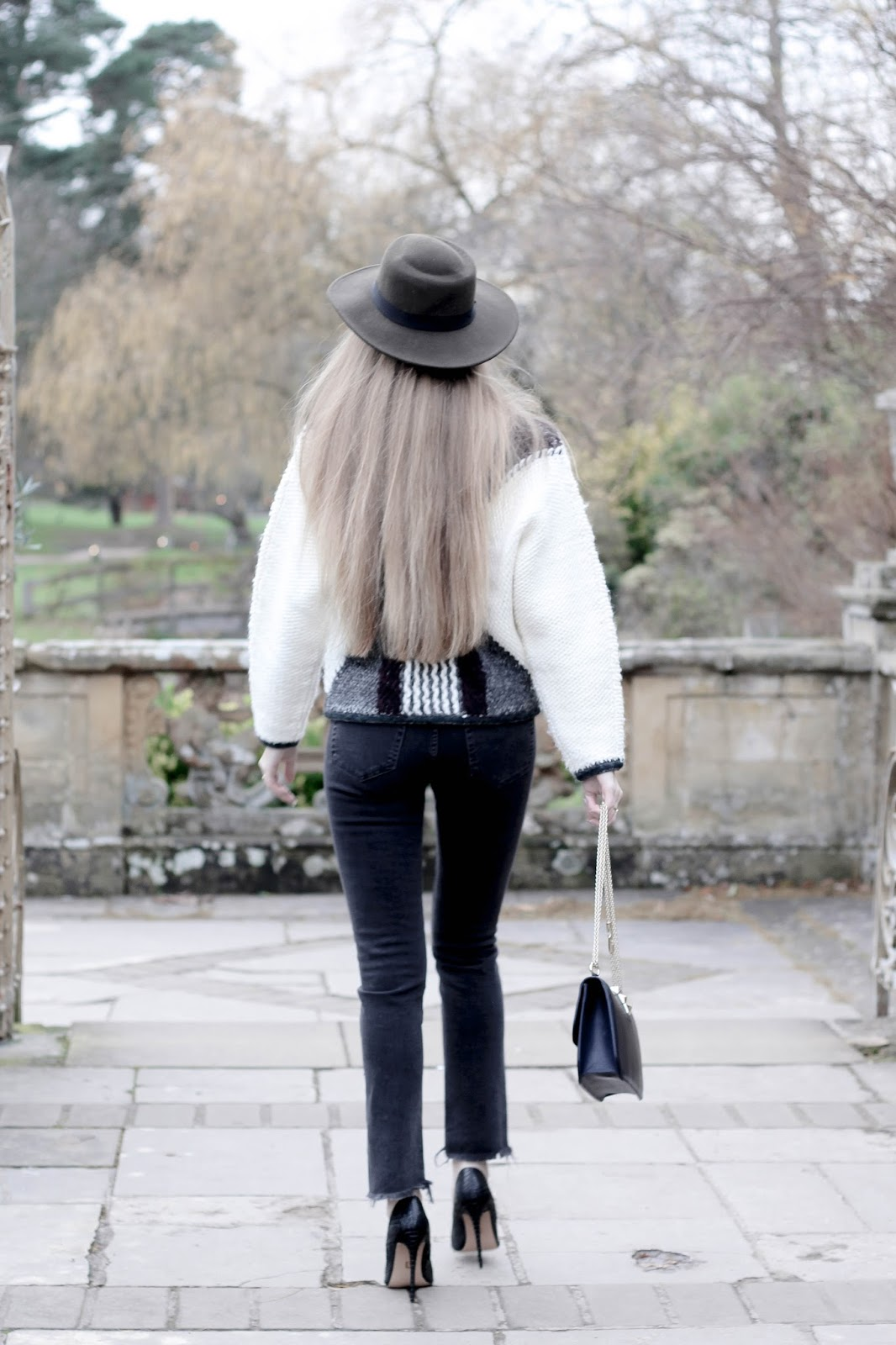 UK very long hair fashion blogger winter styling high heels