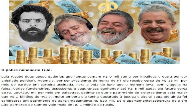 """CAIU A MÁSCARA: O """"coitadinho"""" Lula é podre de rico, abestados!"""