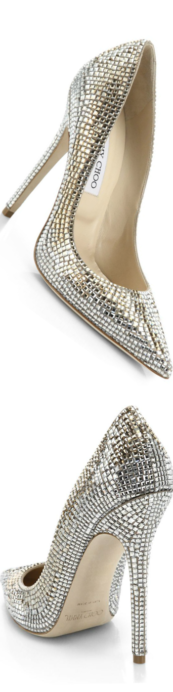 Jimmy Choo Tartini Square Pavé Crystal & Suede Pumps Champagne
