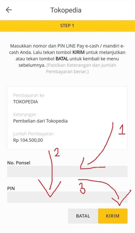 Halaman Pembayaran melalui Mandiri e-cash di Tokopedia