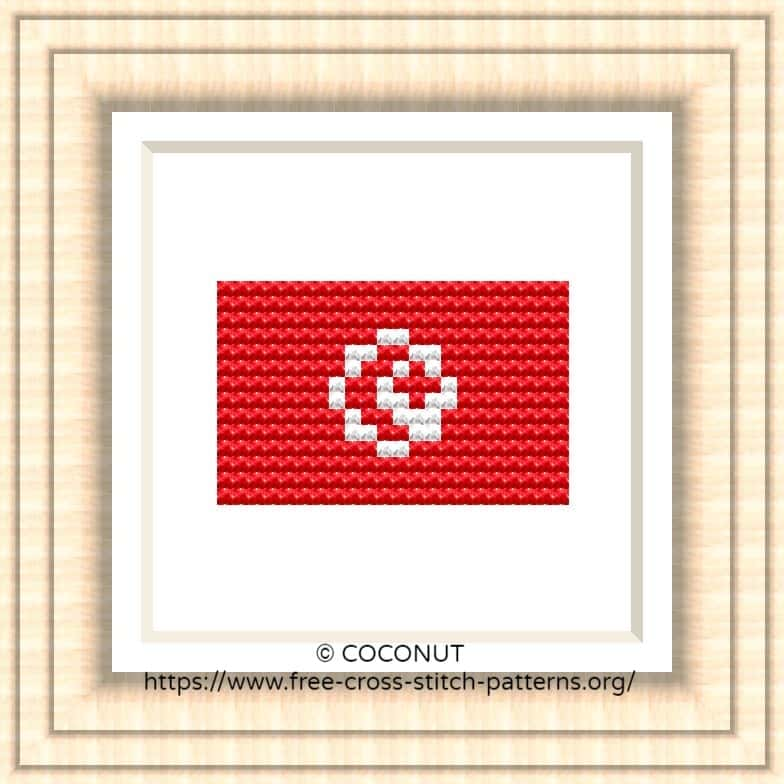 NATIONAL FLAG OF TUNISIA CROSS STITCH CHART