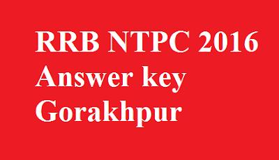 RRB NTPC Answer key Gorakhpur