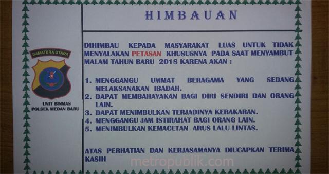Jelang Tahun Baru 2018 ,Polsek Medan Baru Pasang Stiker Himbauan