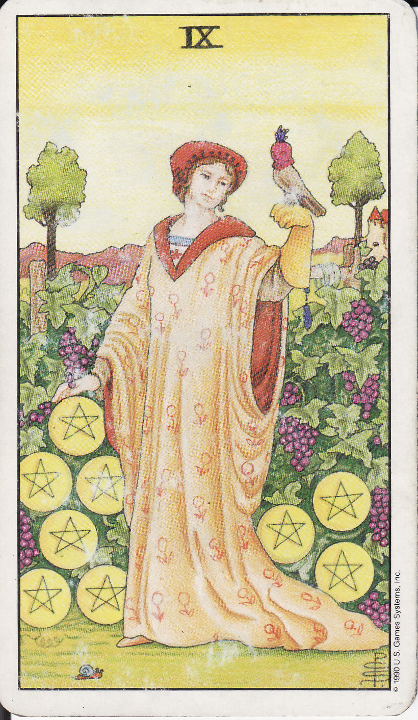 The Pentacles Suit Tarot Cards Meanings In Readings: The Royal Road: 9 NINE OF PENTACLES IX