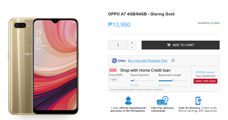 OPPO A7 is now available at Argomall!