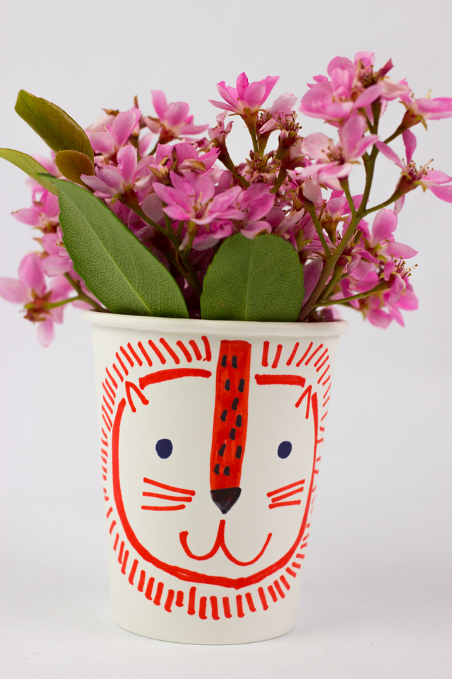 Paper cup flower heads pink stripey socks for Flower heads for crafts