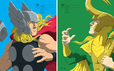 Thor & Loki Marvel Faceoffs Portrait Screen Prints by Florey x Grey Matter Art