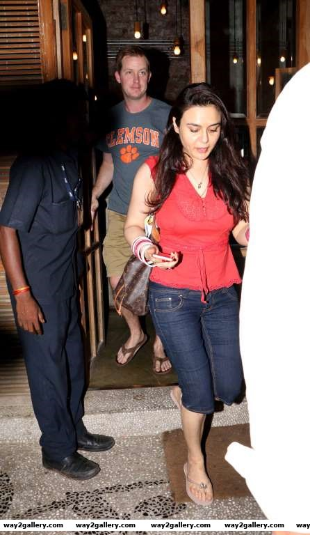 Preity Zinta was spotted with her husband outside a restaurant in Bandra