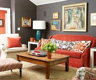 sala sofá naranja