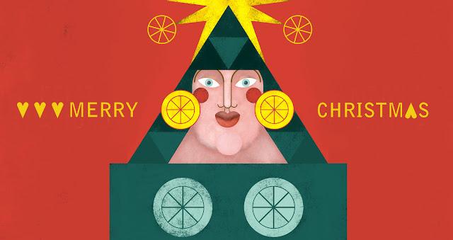 Ilustración de Navidad, Felicitación de Navidad - Christmas card, christmas illustration, christmas tree
