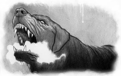 The Hound of The Baskervilles - The Hound from the illustration blog of Eugene Smith, done by Doogie Horner, Wednesday, September 30, 2009.