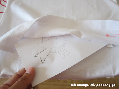 mis nancys, mis peques y yo, tutorial aplique en camiseta, birds in love, introducir plantilla