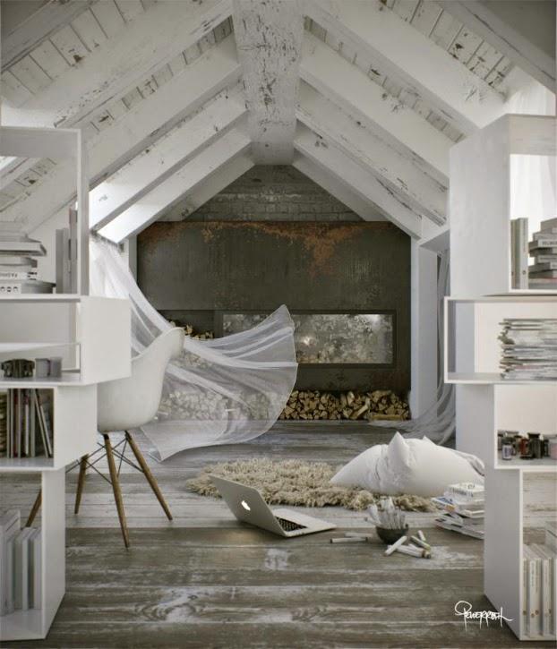 white loft living space