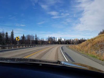 On the open road to Fairbanks, Alaska