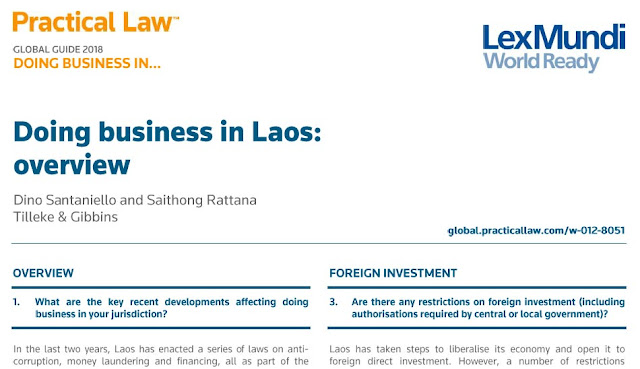 Practical Law Global Guide 2018: Doing Business In Laos