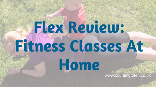 "Me attempting to do a plank in the garden while my 1 year old sits on me. Covered with text saying ""Flex Review: Fitness Classes at Home"""