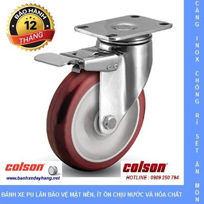 Bánh xe đẩy càng inox 304, bánh xe PU tải từ 90kg đến 114kg/bánh www.banhxepu.net