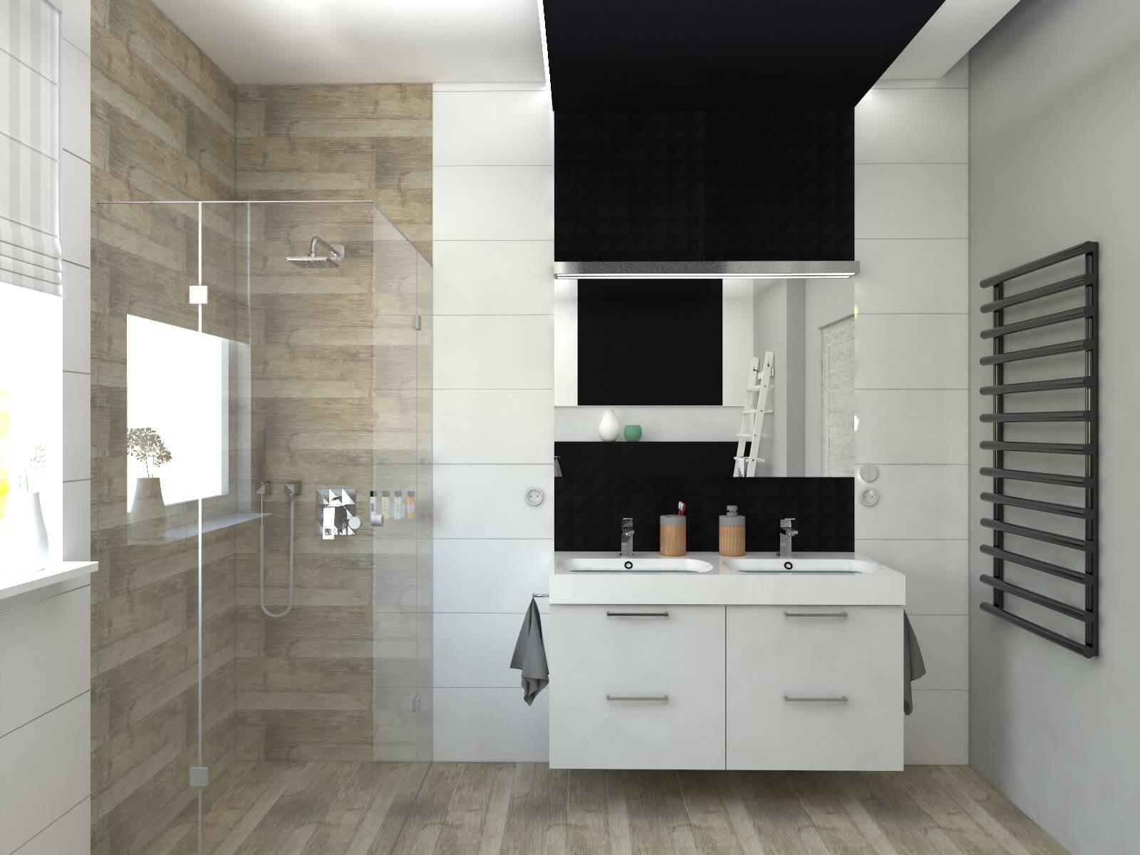 Nowoczesna łazienka w kolorze bieli, czerni i drewna ...