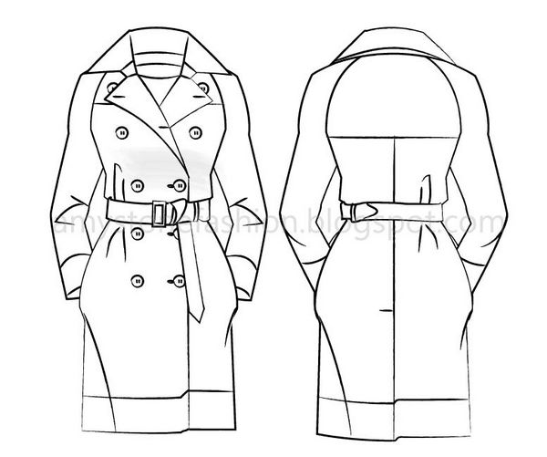 Mid Length Trench Coat Fashion Flat Template 0173