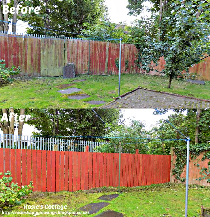 Before & after of back garden fence re-build