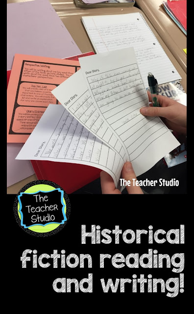 Fiction writing, writing about reading, historical fiction writing, response to reading, response to reading activities, response to reading printables, writing about characters, writing from different perspectives, compare contrast writing activities