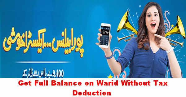 Warid Poora Balance without any Deduction