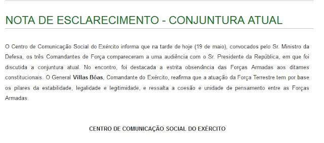 NOTA DO COMANDANTE DO EXÉRCITO BRASILEIRO