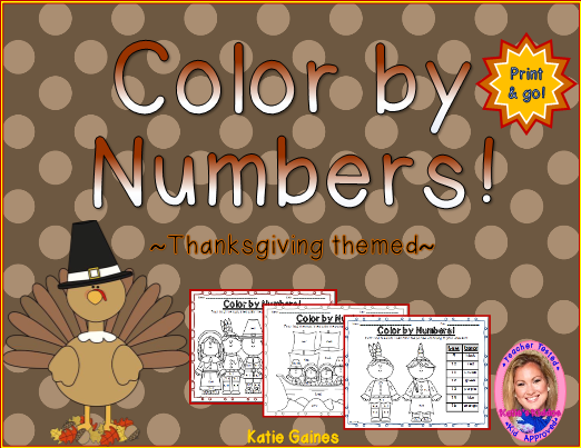 TeacherSherpa Color By Numbers Thanksgiving Theme Printable