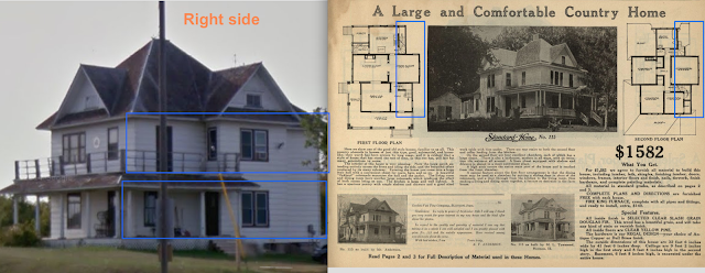left to right comparison of the right elevation of Gordon-Van Tine Standard cut Home No. 115, at 11675 Highway 11, Oakes, ND and from the 1916 Standard Homes catalog