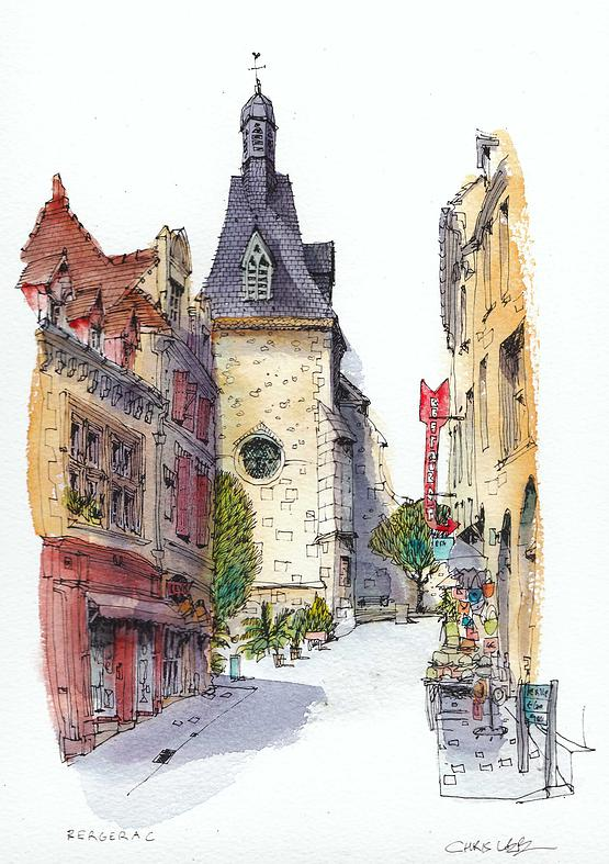 07-France-Bergerac-Chris-Lee-Charming-Architectural-wobbly-Drawings-and-Paintings-www-designstack-co