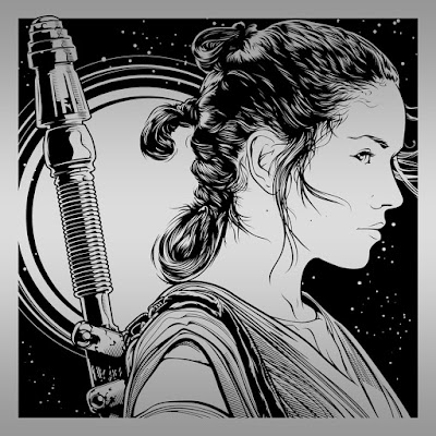 "Star Wars: The Force Awakens ""Rey"" Laser Engraved Print by Joshua Budich"