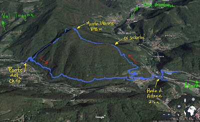 GPS tracks for round-trip hike from Clanezzo to Monte Ubione and back