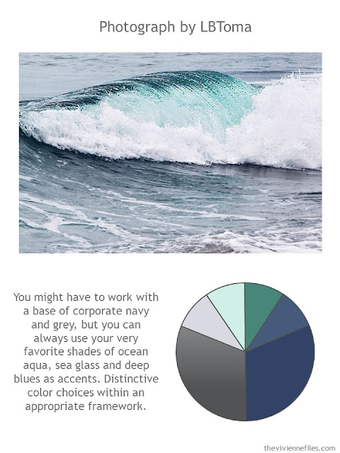 an ocean photograph with style guidelines and color palette