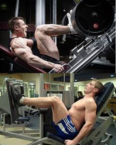 Leg press inclinado y horizontal para hombres flacos