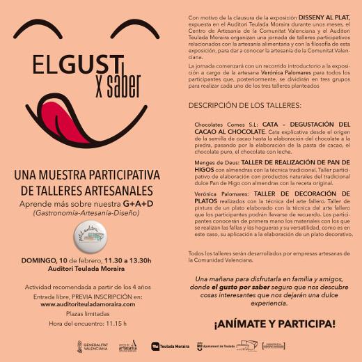 El Centro de Artesanía de la Comunitat Valenciana organiza talleres de artesanía alimentaria en el Auditorio Teulada-Moraira