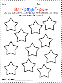 Speechie Freebies: Star Spangled Homework!