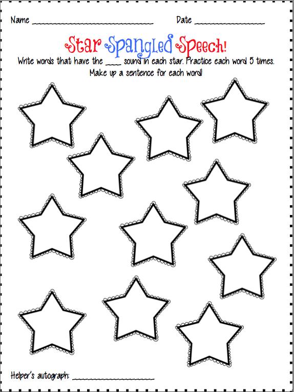 Speechie Freebies: Star Spangled Homework!