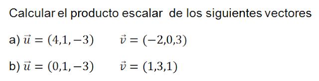como calcular el producto escalar de vectores