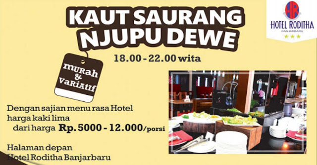 Berburu kuliner murah dengan kualitas hotel sepertinya hanya ada di Kota Banjarbaru. Lihat saja, hotel ini menawarkan sajian kuliner beraneka ragam menu dengan harga sangat murah mulai dari Rp5.000 hingga Rp.12.000 per porsi.