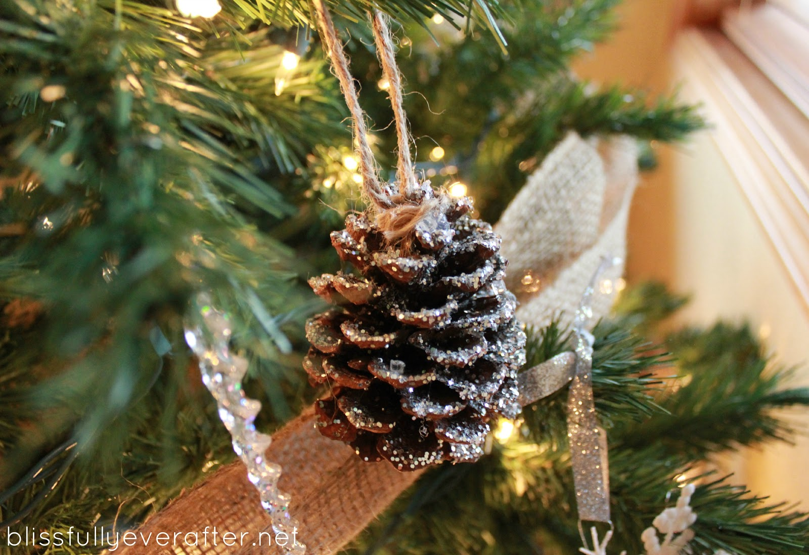 knockoff pottery barn glitter and snow pinecones grace. Black Bedroom Furniture Sets. Home Design Ideas