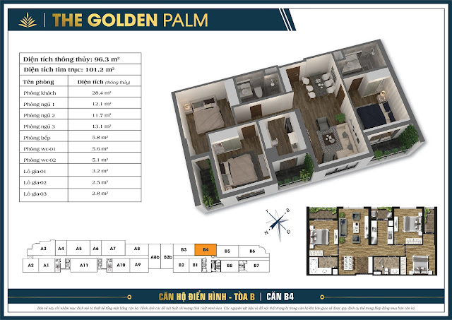 thiết kế căn hộ the golden palm tòa b