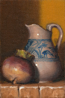 Oil painting of a turnip beside a small blue and white porcelain jug.