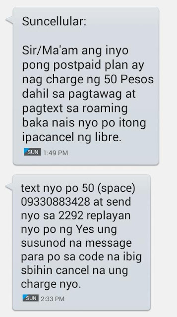 Sun Cellular postpaid scam