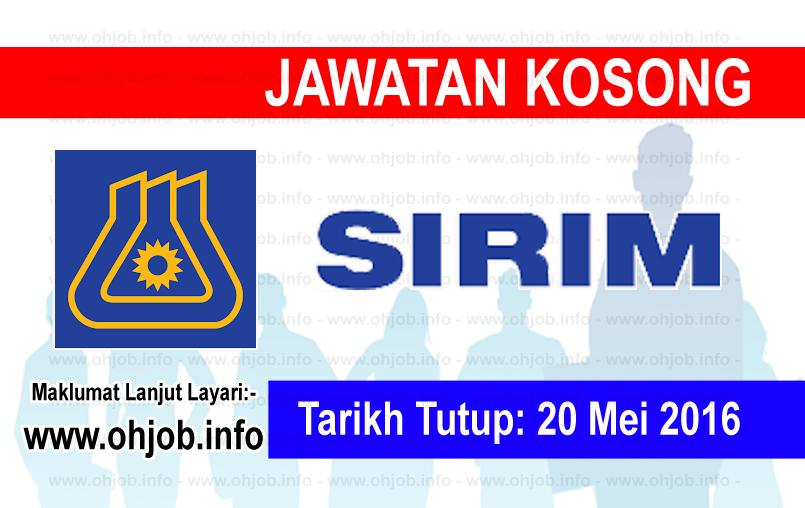 Jawatan Kerja Kosong SIRIM Berhad logo www.ohjob.info mei 2016