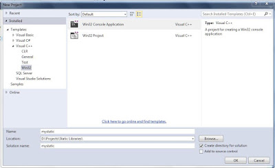 Create a new Win32 Console Application project in Visual C++