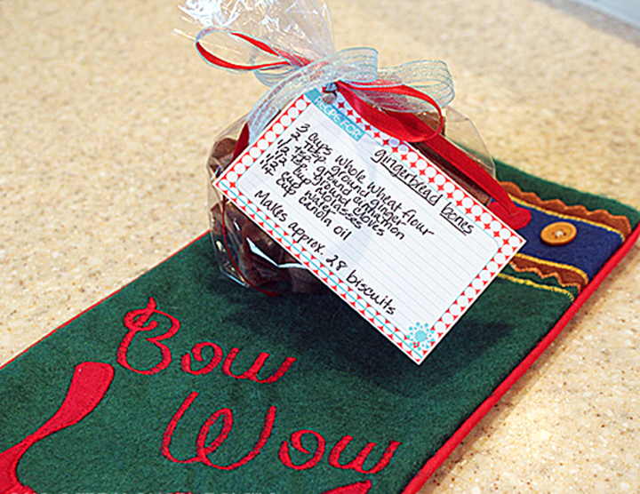free recipe cards, dog treat recipe, dog stocking, gingerbread bones