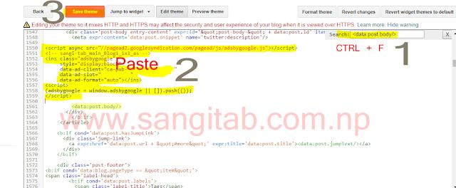 Place Adsense Ad Below Blogger Post Title