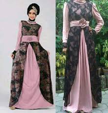 Model Long Dress Pesta Muslim Brokat Sifon Modern