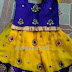 Yellow Blue Stone Work Kids Lehenga