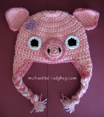 Free Crochet Pig Ear Flap Hat Pattern